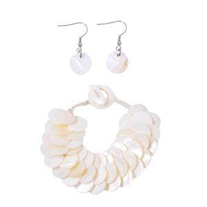 White Shell Stainless Steel Bracelet  w/ Earrings